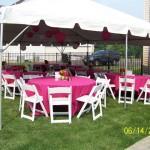 Frame Tent With Round Wooden Padded Chairs